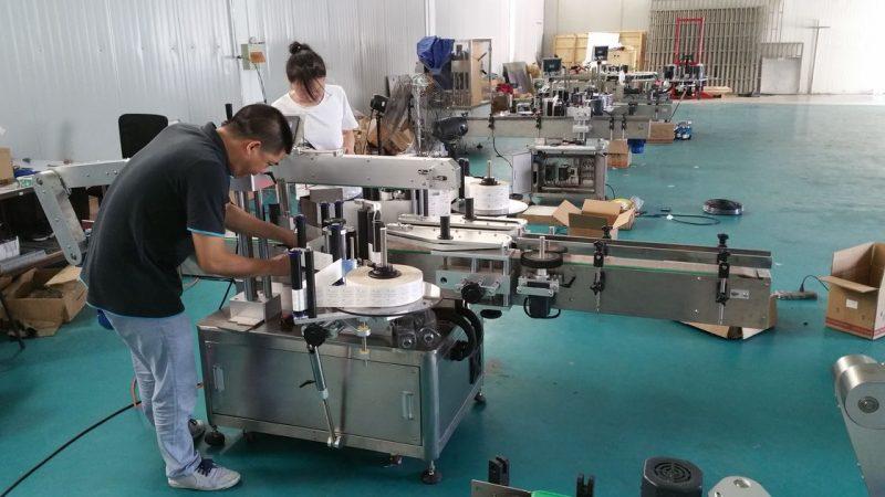 China Mesin Pelabelan Botol Air Disesuaikan, Mesin Labeler Bangku Automatik Untuk Double Sides pembekal